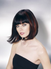 Medium-length dark hair with blunt bangs and red highlights