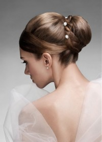 Classic updo for brown haired brides