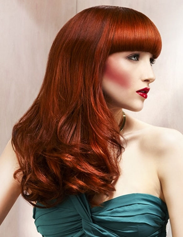Beautiful, long, curly, red hair with blunt bangs | Hairstyles | Hair-photo.com