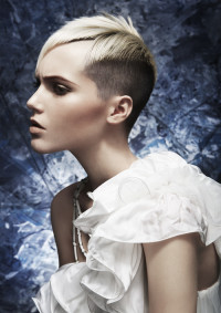 Short, pixie haircut with high fade