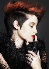 Elegant, short, black hairstyle with red mohawk