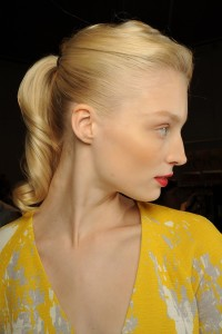 An updo with a pony tail for blonde hair