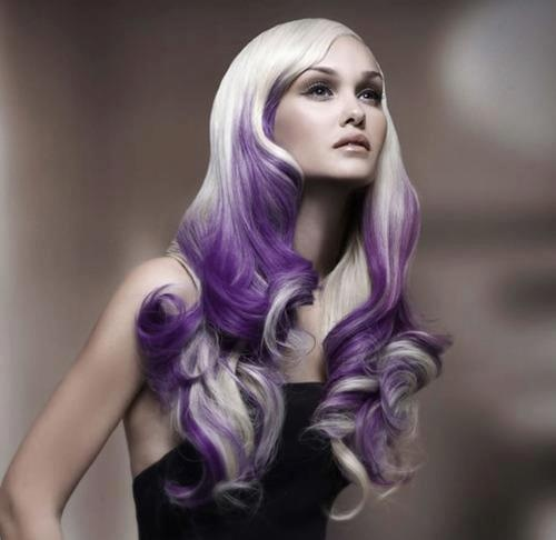 Long, curly hairstyle with violet ombre