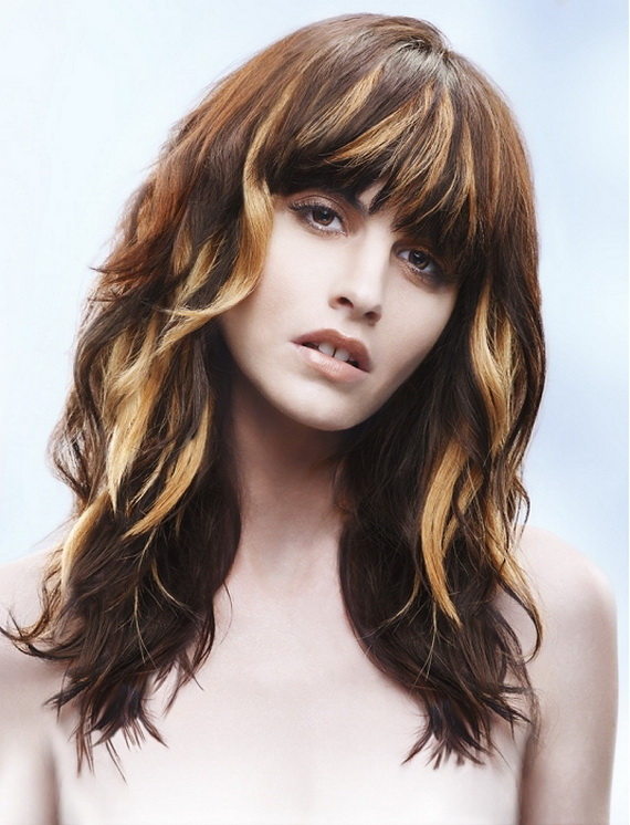 Long, messy, wavy, brown hairstyle with blonde highlights