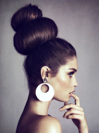 An updo with high two buns