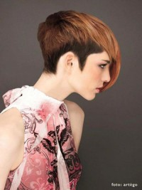 Short, two-toned haircut with long fringe