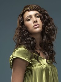 Long, curly brown hair with braided headbands