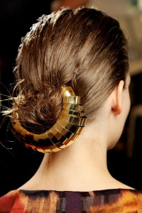 Bun with gold headband