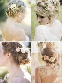 Flowery updos for wedding