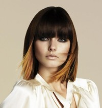 Medium-length haircut with blunt bangs