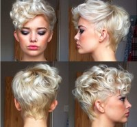 Short, messy, curly haircut with platinum and blonde highlights