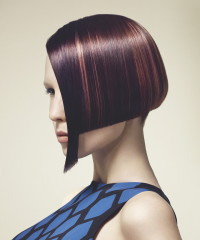 Short, bowl cut, dark brown hairstyle with highlights