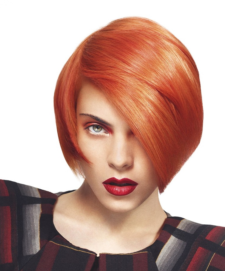 Short, bob, red hairstyle