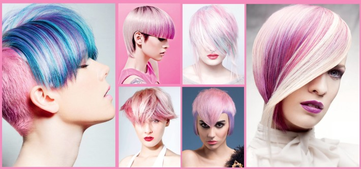 Short, pink coloured examples of hairstyles