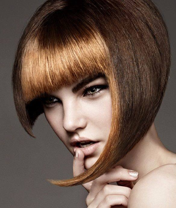 Short, bowl cut hairstyle for brown hair