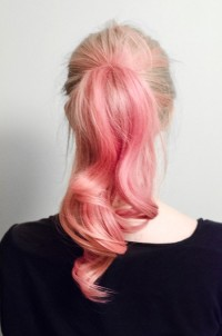 Long, messy looking, pink pony tail