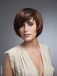 Short, pixie, choppy, brown haircut