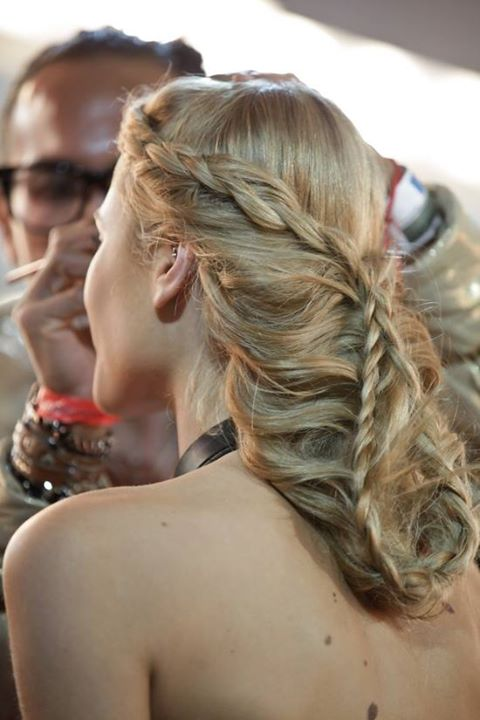 Blonde updo with braids