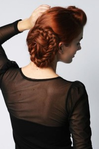 Red updo with bun and braids