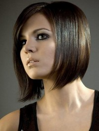 Short, straight, brown haircut