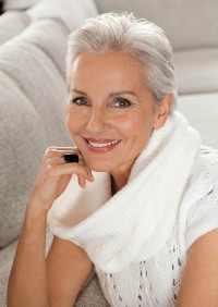 Short, platinum hair for mature women