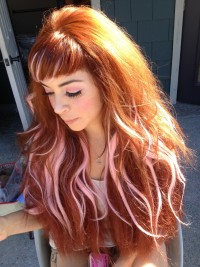 Long, red hair with light pink highlights