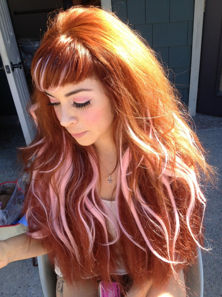 Long Red Hair With Light Pink Highlights Hairstyles Hair Photo