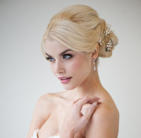 Wedding updo for blonde hair with jewelry decorations
