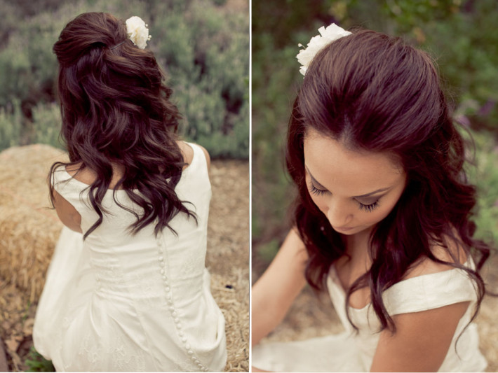 Long, curly, brown hairstyle for wedding