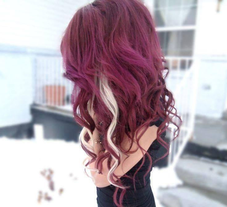 Long Violet Hair With Blonde Highlights Hairstyles Hair Photo