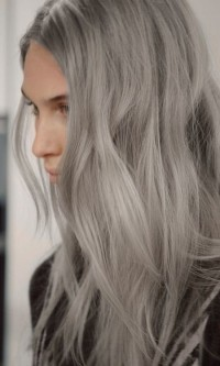 Long, wavy, grey hairstyle