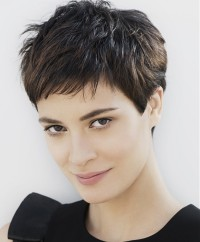 Short, choppy, black haircut