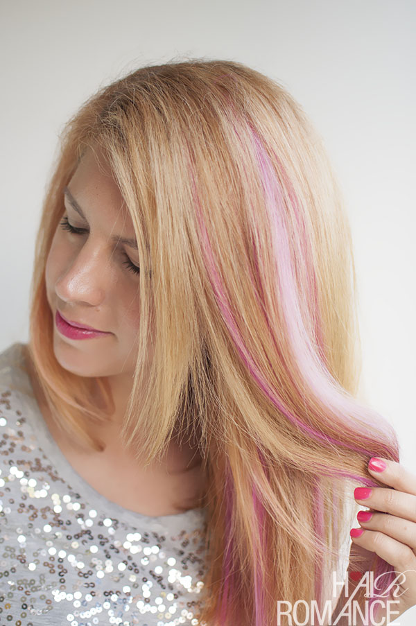 Long Straight Blonde Hair With Pink Highlights Hairstyles Hair