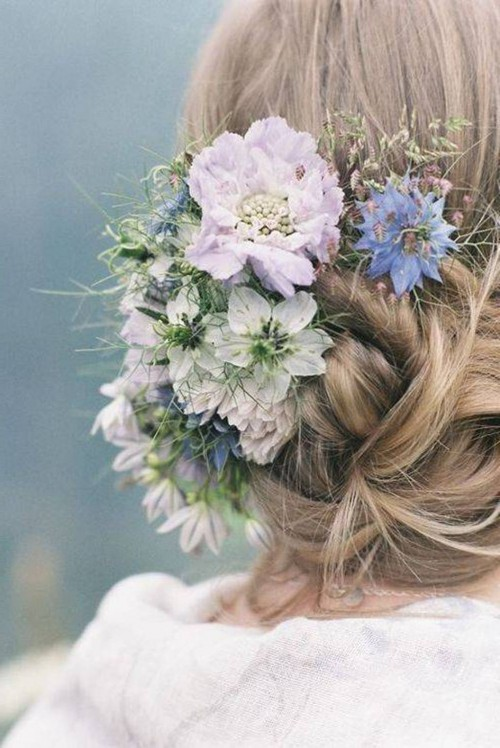 Lovely updo with flowers