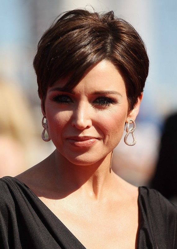 Short, pixie, brown haircut
