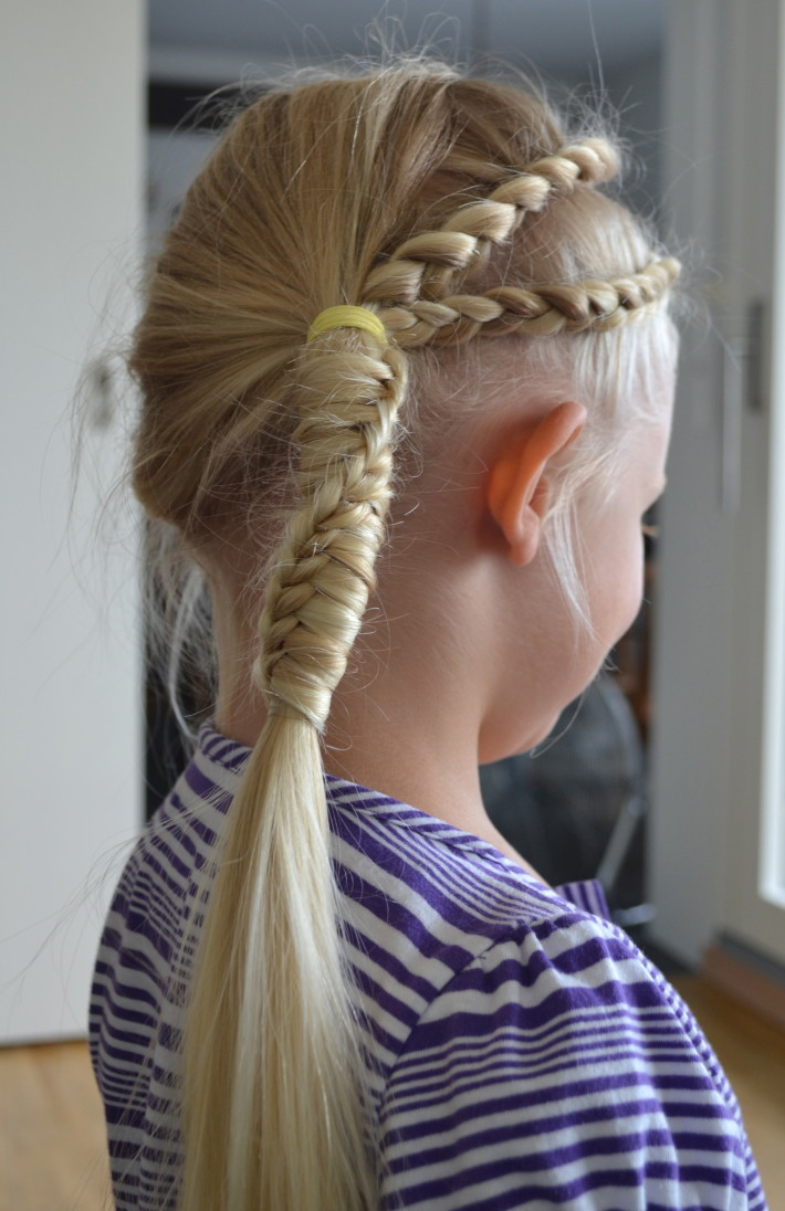 Long, blonde updo with braids and pony tail for blonde girls