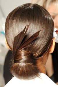 Stylised brown knot hairstyle