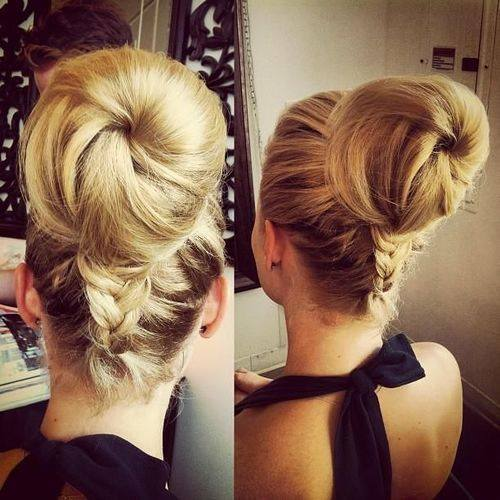 Blonde updo with high bun and braid
