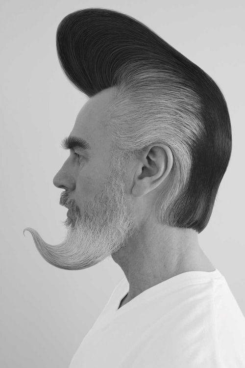 Fancy men hairstyle with stylised beard and two-toned hair with mohawk