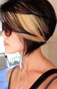 Short, coloured, bob hairstyle with blonde highlights