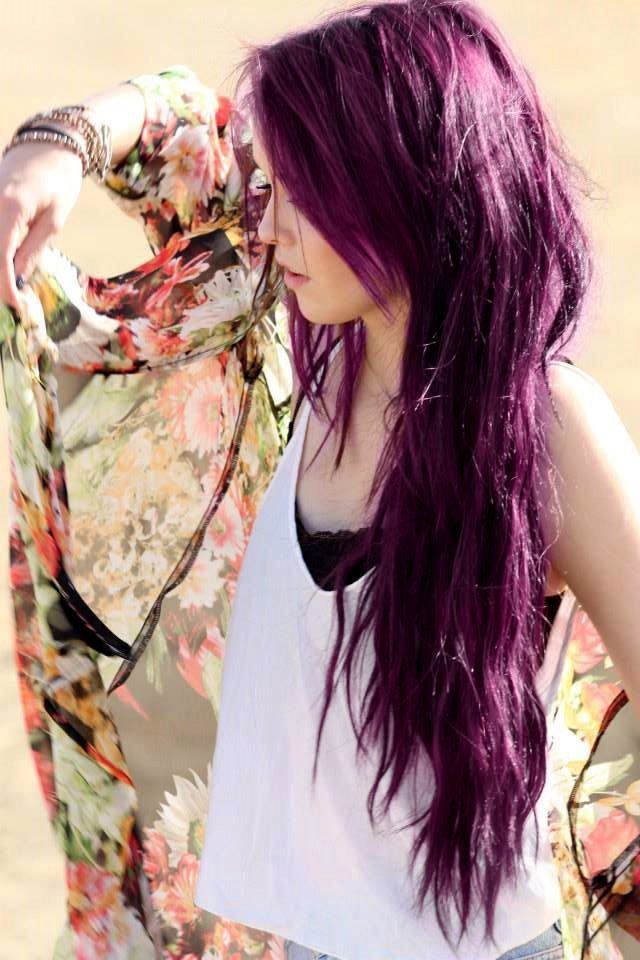 Long, messy, violet hairstyle