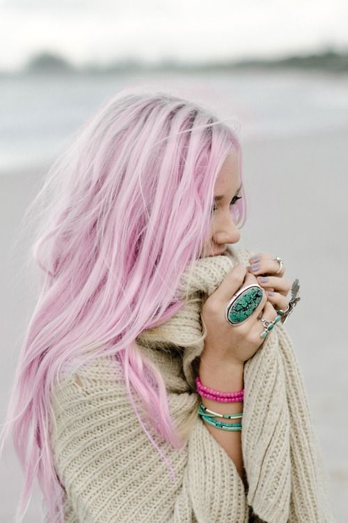 Long, pink hairstyle