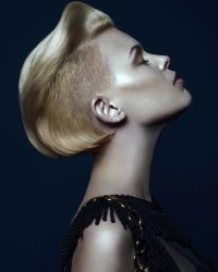 Short, elegant haircut with shaved sides and stylized top