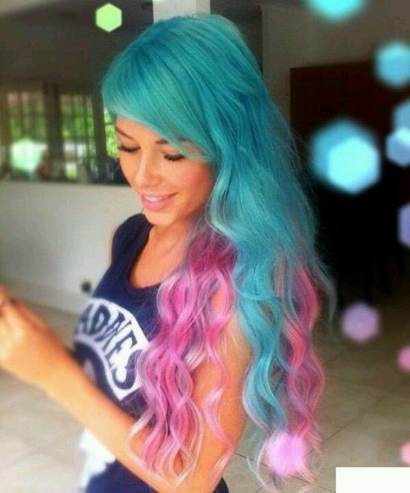 Long coloured hair with teal top and pink endings