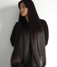 Long, straight, black hairstyle
