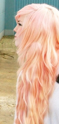 Long pink blond hairstyle