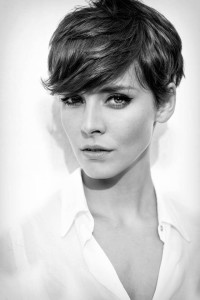 Short, pixie, dark haircut