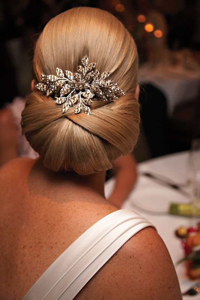 Elegant updo for weeding with jewelry
