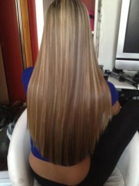 Long, blonde baleyage hairstyle