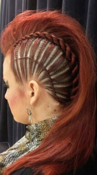 Amazing side braids with mohawk for red haired girls